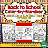 Back to School Color by Number, Addition & Subtraction Within 10
