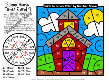 Back to School Color by Number Math Games