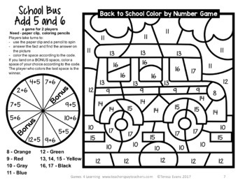 Back to School Color by Number: Back to School Math Games