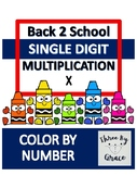 Back to School Color by Number Multiplication