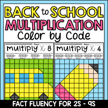 Back to School Color by Number Multiplication Mystery Pictures Facts 2s-9s