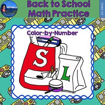 Back to School Math Practice Color by Number Grades K-8