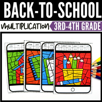 Back to School Multiplication Color by Number Task Cards