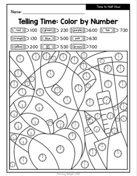 Back to School: Color by Number with Addition, Subtraction, Time and Place Value