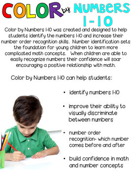 back to school color by code numbers 1 10 activities by kindergarten rocks. Black Bedroom Furniture Sets. Home Design Ideas