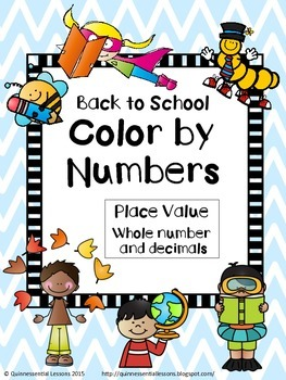 Back to School Color by Numbers - Place Value (Grades 3-5)