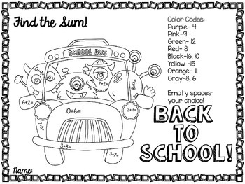 Back to School Color by Operation