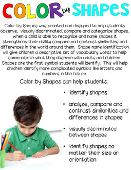 Back to School Color by Code Shapes