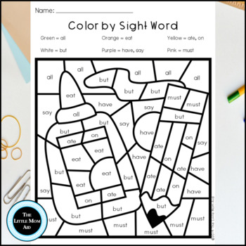 Back to School Color by Sight Word | Primer Word List