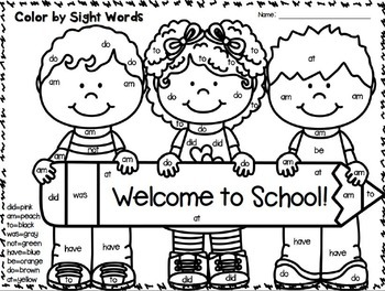 Color by Sight Words PLUS Sentence Writing~ Back to School Edition!