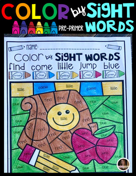 Back to School Color by Sight Words Pre-Primer Sight Word Activities