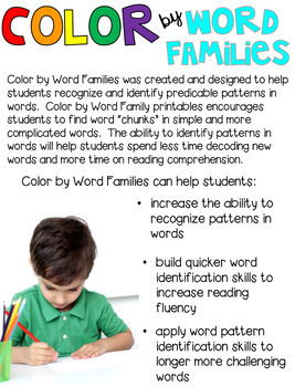 Back to School Color by Word Families