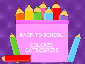 Back to School Colored Pencil Category Sort
