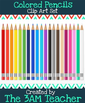 Back to School Colored Pencils in 20 Bright Colors : Clip Art Set