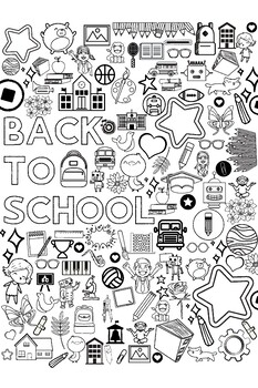 Back to School Coloring Collage