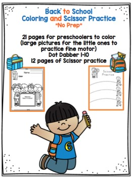 "Back to School Coloring, Dot Dauber and Scissor Practice ""No Prep"""