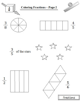 Back to School Coloring Fractions for Kids (5 Pages)