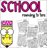 Back to School Coloring Rounding to Tens