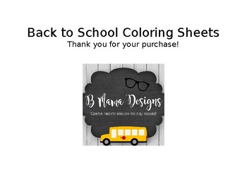 Back to School Coloring Sheet Set School Supplies