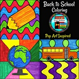 Back to School Coloring Sheets Pop Art Inspired