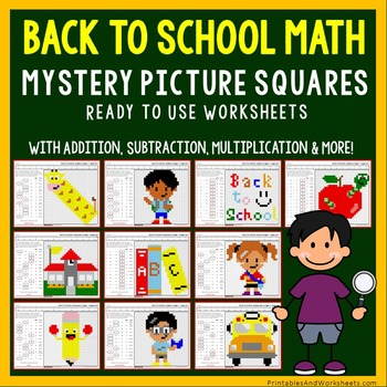 Back to School Math Coloring Worksheets Bundle