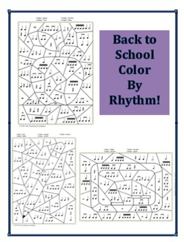 Back to School Colour by Rhythm - Apple, Blackboard, and Pencil Designs!