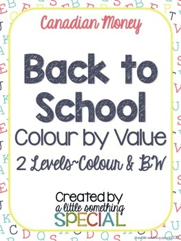 Back to School Colour by Value (Canadian Coins)