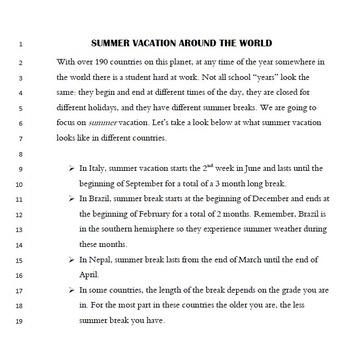 Global School Schedules: Common Core Informational Tasks