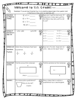 4th Back to School Common Core Math Homework for 4th (Fourth) Grade