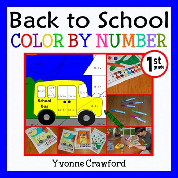 Back to School Color by Number (first grade)  Color by Add