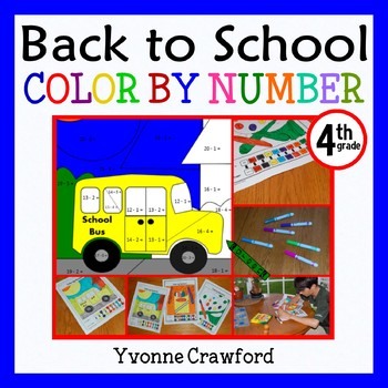 Back to School Color by Number (fourth grade) Color by Mul