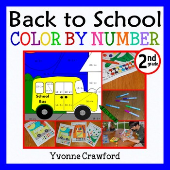 Back to School Color by Number (second grade) Color by Add