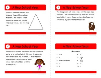 Back to School Task Cards - First Grade Math