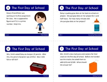 Back to School Task Cards - Fourth Grade Math