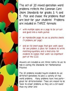 """""""Back to School"""" Differentiated Word Problem Collection: Grade 3-5"""