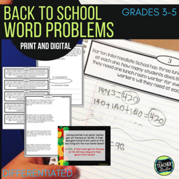 Back to School Math Differentiated Word Problems: Grade 3-5
