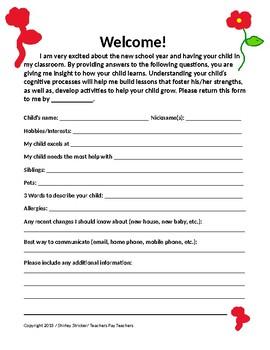 Back to School Communication Form