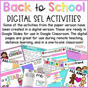 Back to School Community Building - Social Emotional Learning Activities SEL K-2