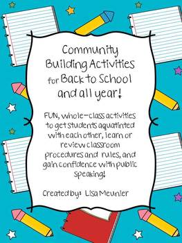 Back to School Community Building Whole Class Activities