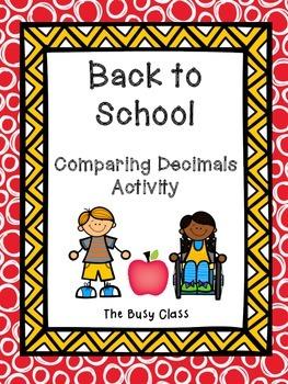 Back to School Comparing Decimals Activity
