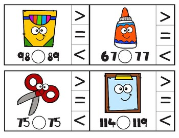 Back to School Comparing Numbers Math Clip Cards