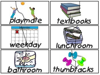 FREE School Compound Word Puzzle Match Set using All School Words