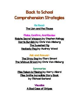 Back to School Comprehension Strategies Book Ideas