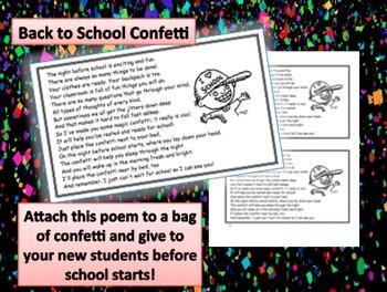 Back to School Confetti Poem