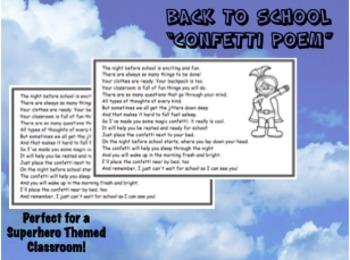 Back to School Confetti Poem - Superhero Theme