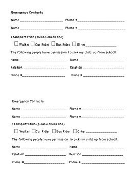 Back to School Contact and Information Forms