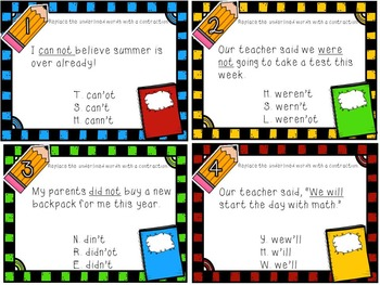 Back to School Contraction Task Cards (with QR Code Option)