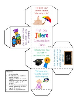 First Day Jitters: Back to School Conversation Cubes FREEBIE!