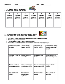 Back to School Conversation - Mi Horario (Spanish 2-3)