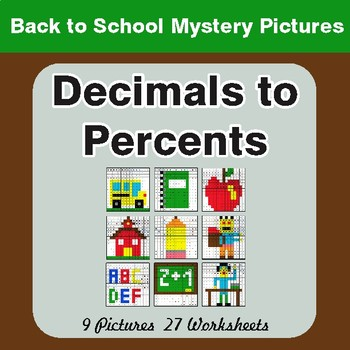 Back to School: Convert Decimals to Percents - Color-By-Number Mystery Pictures
